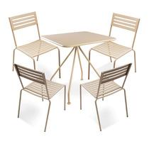 Conjunto Jardim Mesa Com 04 Cadeiras Em Aço Bege