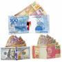Kit Com 10 Carteira Slim Lona Modelo Dinheiro Real Dólar Eur