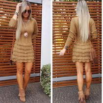 Vestido Feminino Tricot Crochê Renda Modelo 2016