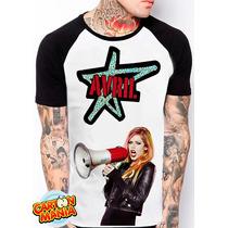 Camiseta Raglan Avril Ramona Lavigne Pop Rock Pop Punk