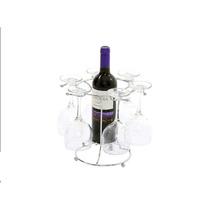 Suporte Para Vinho E Porta Taças Em Aço Cromado