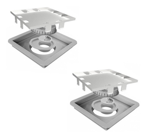 Kit Com 2 Peças Ralo Linear Square -tampa Oculta 15x15 - 209