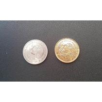2 Moedas México 10 Centavos Uma Folheada Ouro