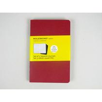 Kit 3 Moleskines Vermelho Pocket Quadriculado