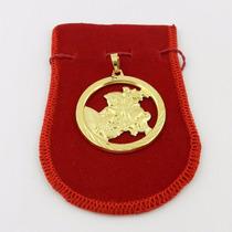 Pingente São Jorge 4cm Folheado Ouro Pi208