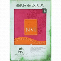 Bíblia De Estudo Nvi Capa Luxo Rosa Laranja