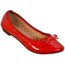 Sapatilha Feminina Vermelha Verniz Modelo Moleca