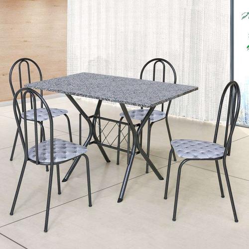 Conjunto De Mesa Com 4 Cadeiras Bruna Craqueado Preto E E...