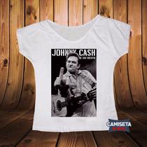 Blusa Gola Canoa Johnny Cash Homem De Preto Música Country
