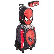 Mochila Rodinhas Spider Man Homem Aranha + Lancheira Estojo