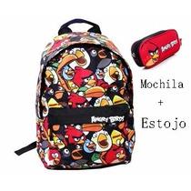 Mochila Angry Birds G Colorida Juvenil E Estojo De Lápis