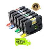 Kit 6 Fita Rotulador Brother Colorida 12mm Tz Tze Compati