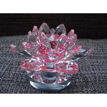 Flor De Lótus De Cristal Transparente Rosa Pink 10cm