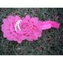 Tiara Fita Faixa Bebê Organza Flor Perola Importa Rosa Retrô