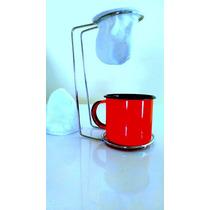 Mini Coador De Café+suporte Cromado+xícara Esmaltada+brinde