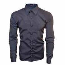 Camisa Social Slim Fit Pequenas Listras Azulada Esporte Fino