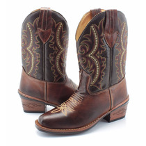 Bota Country Masculina Cano Longo Floral Rodeio Couro Marrom