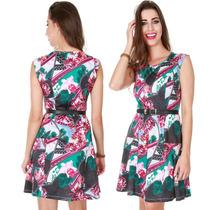 Vestido Feminino Rodado Estampado Floral Tecido Leve E Suave
