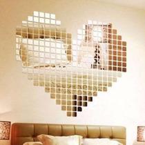 Escultura De Parede Decoração Espelhada Romantica Coração