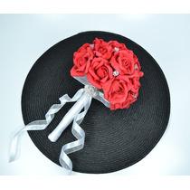 Buquê De Noiva - Rosas Vermelhas Em Eva - Flor Artificial