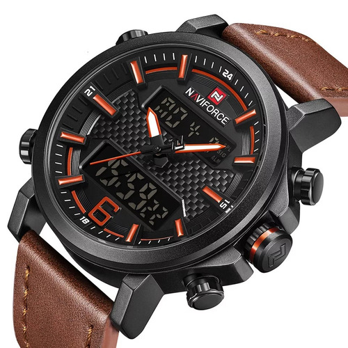 2a9b0e345834c Relógio Naviforce Masculino Esportivo Militar Couro 9135 - R  159 en ...