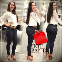 Calça Jeans Feminina Hot Pants Cintura Alta Cós Alto C Cinto