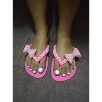 Sandálias Chinelos Havaianas Customizados Laço De Pérolas