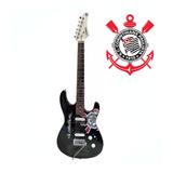 Guitarra Waldman Corinthians Preto Com O Logo  - Gtu-1