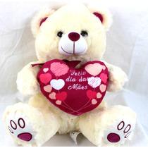 Urso De Pelúcia 40cm  Fofinho Coração Eu Te Amo