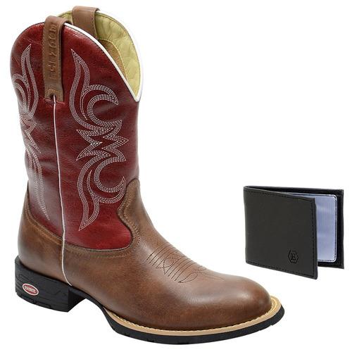 e365cfa132 Bota Cowboy Texana Masculina Em Couro + Brinde. R  199.12