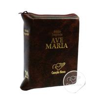 Bíblia Católica Ave Maria Com Zíper Pequena De Bolso Couro