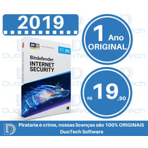 Antivírus Bitdefender Internet Security 2019 1 Pc 1 Ano Ori
