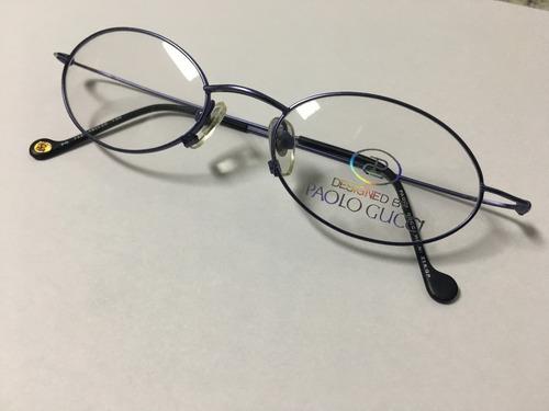 69186de67d2c4 Armação P  Óculos De Grau Paolo Gucci Azul Banhado Em Ouro