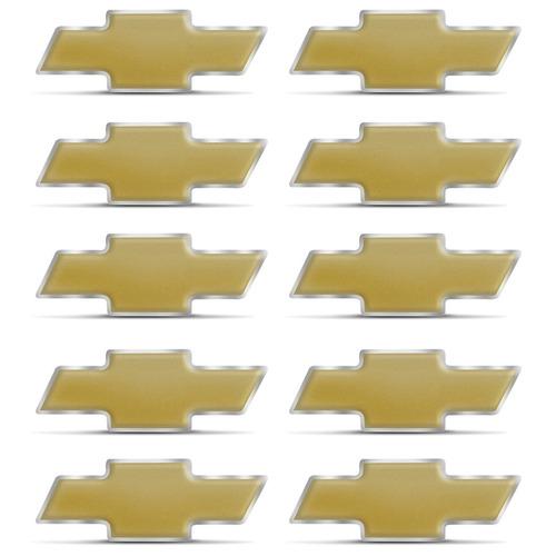 10 Emblemas Dourados Grade 10x4 Cm Tampa Gm Borda Cromada