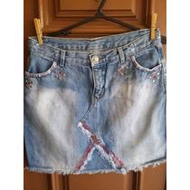 Saia Jeans 42 Femini Grosso Sem Stretch Usada Tachas Strass