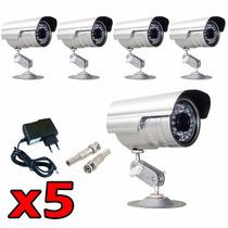 Kit 5 Cameras Ccd Infra 1000 Linhas + Fonte + Conector Bnc