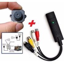 Micro Mini Câmera Sem Fio Kit Com Placa De Captura Usb