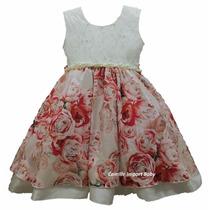 Vestido Infantil Festa Floral 4 A 12 Anos Luxo Com Tiara