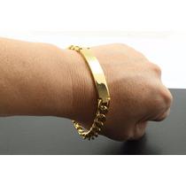 Pulseira Masculina Dourada Ouro 18k Com Gravação Gratis