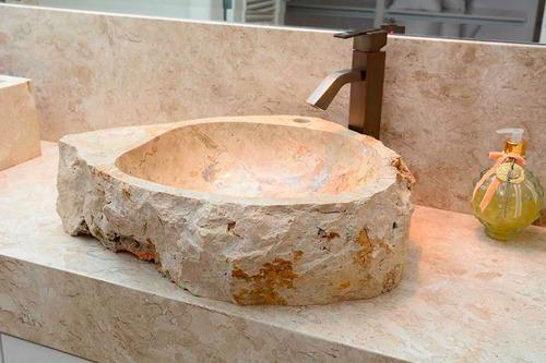 Cuba Pia Importada Luxo Banheiro Lavabo Pedra Natural Clara  R$ 1190,00 em  # Cuba Para Banheiro Luxo