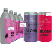 Kit 2 Po Descolorante Magnific Hair + 4 Agua Oxigenada