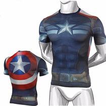 Camisa Capitão America Civil War Dryfit Pronta Entrega