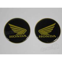 Adesivos Emblema Tanque Honda Resinado 61mm Dourado - Decalx