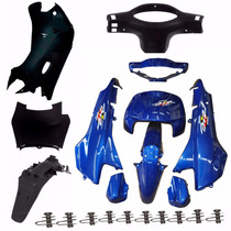 Kit Carenagem Completa P/ Biz 100 2001 Azul C/adesivad
