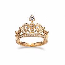 Anel Feminino Coroa Princesa 15 Anos De Ouro 18k E Diamantes