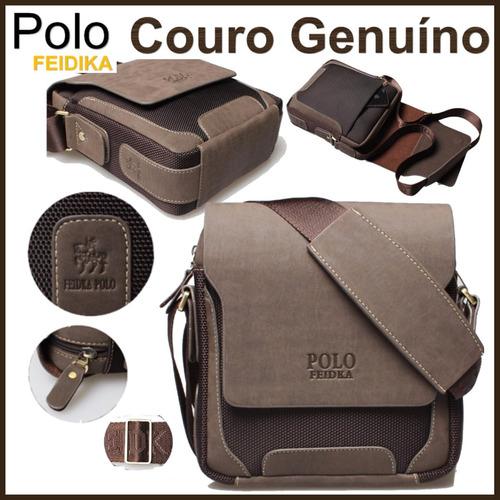 e9efdde28e5 Bolsa Case Masculina Couro Genuíno Polo Netbook Tiracolo