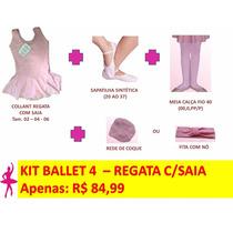 Kit Roupas De Ballet Infantil - 4 Peças - Regata Com Saia