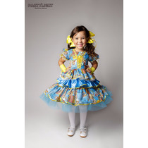 Vestido De Festa Junina Caipira Infantil Azul E Amarelo