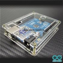 Uno R3 Smd + Cabo Usb + Case + Compativel Com Arduino
