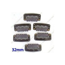 20 Presilhas Tic Tac Preta Para Mega Hair Modelo U 3.2mm.